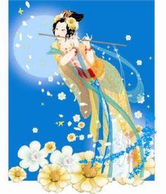 La diosa de la Luna tocando la flauta armónicamente atreves del brillo de la Luna.