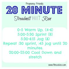 Pregnant or not, this Pregnancy Friendly 20 Minute HIIT Treadmill Run will have you working! Choose speeds that challenge you and you'll feel worked!