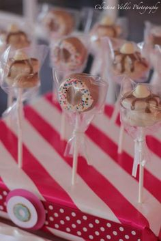 Adorable cake pops at a Pancakes and PJ's party.  See more party ideas at CatchMyParty.com.  #sleepover #partyideas