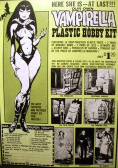 Vampirella and Monster Scenes Plastic Hobby Kits Ad Frank Frazetta, Famous Monsters, Scary Monsters, Vintage Advertisements, Vintage Ads, Hobby Kits, Horror Comics, Plastic Model Kits, Box Art