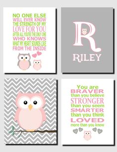 Baby Girl Nursery Pink and Gray Owl Wall Art Kids by vtdesigns