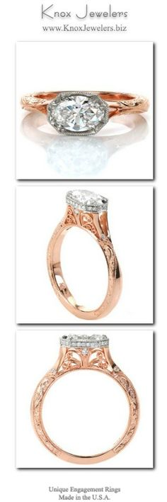This stunning custom two-toned engagement ring design features a unique, horizontal oval center stone setting. The sides of the faux-bezel center setting are adorned with diamonds to form a horizontal halo. The rose gold split shank band is detailed with hand engraving and filigree curls for a vintage touch. From out of town? No problem. Check out our Try Before you Buy Program.