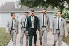 We'll help you find the perfect groomsmen attire for your wedding party, plus advice on coordinating groomsmen outfits. Rustic Groomsmen Attire, Gray Groomsmen Suits, Groomsmen Outfits, Bridesmaids And Groomsmen, Groom Attire, Grey Suits, Country Groomsmen, Groomsman Attire, Groomsmen Boxes