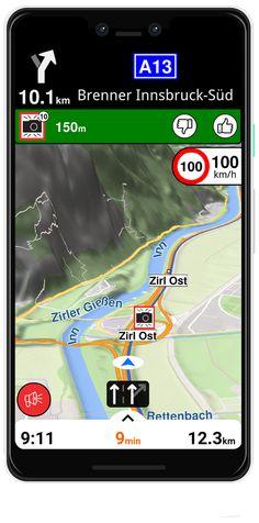 3D nézet a Brenner hágó környékén. Ilyet csak kevés navigációban látni.