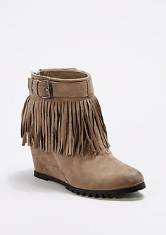 Taupe Fringed Lug Wedge Bootie | rue21