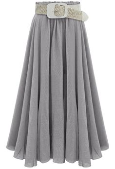 Grey Belt Pleated Long Skirt