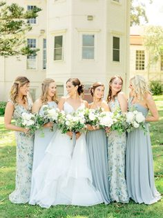 Bridesmaid Dresses Floral Print, Light Blue Bridesmaid Dresses, Wedding Bridesmaid Dresses, Wedding Party Dresses, Prom Dresses, Mix Match Bridesmaids, Blue Bridesmaids, Wedding Dress Shopping, Tropical Prints