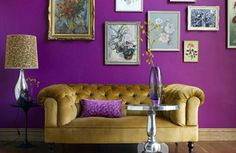 Love purple walls and golden love seat