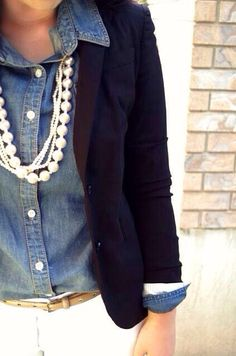 Denim, navy & pearls. A preppy girls go to combo
