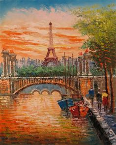 12. This painting is asymmetrically balanced because there are more things - a boat, people, trees, and buildings - on the right side versus the left. This diverts your attention to a certain part of the painting.