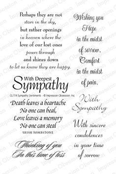 Impression Obsession Rubber Stamps Clear Stamp Set - Sympathy Sentiments - TEMPORARILY OUT OF STOCK
