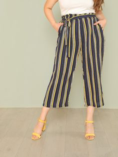bbed69cd312 Shop Plus Self Belted Vertical Striped Pants online. SheIn offers Plus Self  Belted Vertical Striped