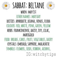 Beltane correspondences! 🌸🌱🌼 Green Witchcraft, Wiccan Witch, Wicca Witchcraft, Magick, Wiccan Sabbats, Under Your Spell, Baby Witch, Modern Witch, Practical Magic