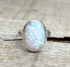 Statement Oval Simulated Opal Elegant Birthstone Ring in Sterling Silver by GildedBug on Etsy