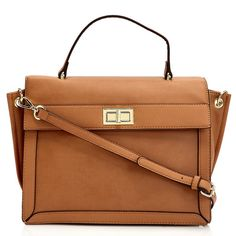 The structured silhouette of this satchel handbag offers polished style with a modern edge