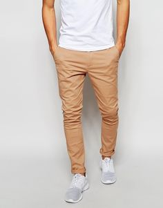 Chinos by ASOS Stretch twill Concealed fly Side pockets Two back pockets Super skinny - cut closest to the body Machine wash Cotton, Elastane Our model wears a cm regular and is tall Green Chinos Men, Tan Chinos, Brown Chinos, Slim Chinos, Brown Pants, Tan Pants Outfit, Chinos Men Outfit, Super Skinny Chinos, Types Of Trousers