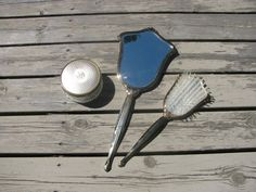 Vintage Handheld Mirror Comb/Brush and Container by Roccapuccia, $40.00