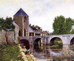 Jour gris, Moret, huile sur toile de William Lamb Picknell (1853-1897, United States)