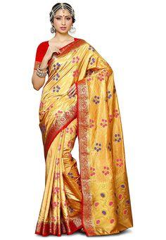 Golden Saree, Satin Saree, Sari, Telugu, Fashion, Saree, Moda, Fashion Styles, Fashion Illustrations