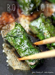 Bo la lot: bouchées vietnamiennes au boeuf et feuilles la lot- Vietnamese beef wrapped in wild betel leaves