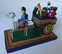 "Mexican Puebla ceramic Day of Dead cart w/devil by ALFONSO CASTILLO ORTA 6"" long"
