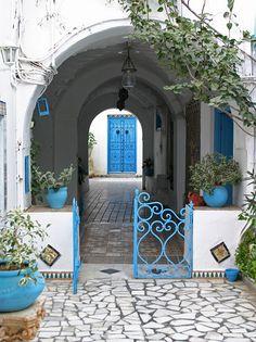 Doorway Sidi Bou Said, Tunisia (another blue door) Entrance Doors, Doorway, Thinking Day, Garden Gates, Outdoor Rooms, Outdoor Living, Windows And Doors, Beautiful Places, Beautiful Sky