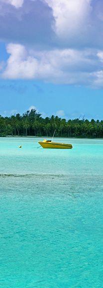 Yellow boat in the clear blue sea Bora Bora #nature #places #travel