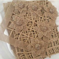 This Pin was discovered by hal Diy Ribbon Flowers, Burlap Flowers, Ribbon Work, Burlap Crafts, Fabric Crafts, Hand Embroidery Patterns, Crochet Patterns, Romanian Lace, Burlap Lace