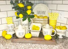 Lemonade Target Dollar Spot Dreams In Lemon Kitchen Decor Theme And Lime Lemons Themed Ideas Blue Colored Lemon Kitchen Decor Kitchen lemon themed kit. Lemon Kitchen Decor, Kitchen Decor Themes, Kitchen Ideas, Yellow Kitchen Decor, Kitchen Designs, Target Dollar Spot, Farmhouse Style Kitchen, Farmhouse Decor, Farmhouse Ideas