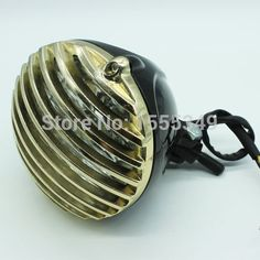 78.08$  Buy here - http://ali68d.worldwells.pw/go.php?t=32398189476 - For Harley Cafe Racer Bobber Choppers Custom Bikes 5''Round Scalloped Finned Grille Bullet Motorcycle LED Headlight Lamp Gold 78.08$