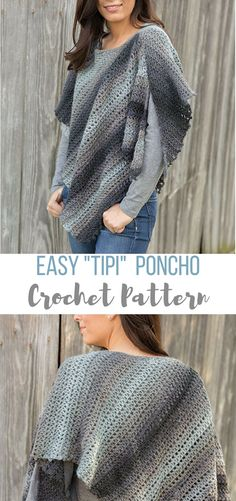 this is such an easy crochet poncho pattern - just 2 triangles joined together and a space left to put your head through..genius lol #crochetponchopattern #crochetponcho #crochetponchopatterns #crochetponchos #crochetwomenssweaterpatterns #crochetpatterns #crochet #easycrochetpatterns #beginnercrochetpatterns #affiliate
