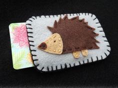 Handmade felt hedge hog birth control cozy, credit card cozy, durable and unique.
