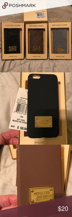 Price FIRM. All MATTE colors.NWT MK iphone6 cover. Matte colors. NWT MK iPhone 6 cover. Retail price $58, as you can see on the tag. These are authentic. I purchased these at the LA Downtown Fashion District where they get rid of overstocks and slightly irregular goods. I have 5 cases. All in great condition, with a small surface scratch on the gold plate - not really noticeable unless you stare at it, hence the LOW price These are great and I used one until I got the iPhone 7. This won't…