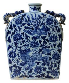 Large Blue & White Chinese Flask