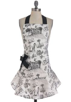 I have such an obsession with aprons!    Bon Appetit Apron - Multi, Novelty Print, Vintage Inspired, French / Victorian