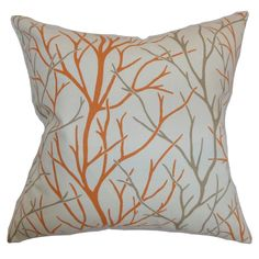 The Pillow Collection Fderik Trees Cotton Throw Pillow Cover Size: x Color: Tangerine Toss Pillows, Throw Pillow Covers, Floor Pillows, Decorative Throw Pillows, Accent Pillows, Tree Bed, Orange Cushions, Cotton Pillow, Cotton Fabric