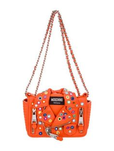 425232b8095e Embellished Moto Biker Jacket Crossbody Bag. Orange Leather ...