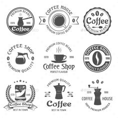 Buy Coffee Emblem Set by VectorPot on GraphicRiver. Coffee emblem set with premium beams coffee house and coffee shop descriptions vector illustration. Editable EPS and . Coffee Label, Coffee Shop Logo, Coffee Icon, Coffee Shop Design, Coffee Packaging, Web Design, Logo Design, Cafe Logos, Coffee Process