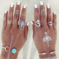 "8 Piece Tibetan Silver ""Balance"" Ring Set"