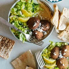 A recipe for Falafel Salad Hummus Bowls.