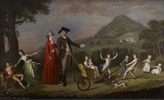 James Hunter Blair (1741–1787) with his wife and family, David Allan (1744–1796). The portrait is reputed to have cost 75 guineas, relatively inexpensive, even for this artist. Allan wrote to the 11th Earl of Buchan in December 1780 that his general price was 10 guineas a figure. In this instance, he may have charged less on account of nine of the eleven portraits being of the sitter's young children. BFA Five Hundred Years of Scottish Portraiture Exhibition.