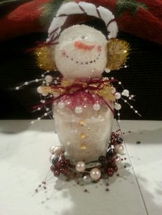 Maroon/gold jar snowman I created