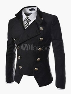 Double-breast Casual Jacket with Stand Collar and Long Sleeve - Milanoo.com