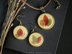 Dried autumn leaves earrings fall necklace jewelry real pressed leaf herbarium jewelry pendant botanical jewelry set jewelry gift for girl by sincereworkshop on Etsy