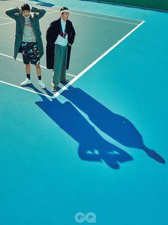 "stylekorea: ""Lee Hui Soo and Hong Ji Myung for GQ Korea December Photographed by Park Ja Wook "" Sport Editorial, Editorial Fashion, Tennis Fashion, Sport Fashion, Film Photography, Fashion Photography, Medvedeva, Mode Streetwear, Sports Photos"