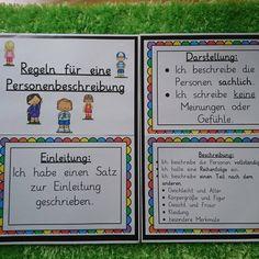 Mal ein paar Merkplakate und Hilfen zur Personenbeschreibung erstellt☺️ Danke an grundschul-ideenbox.blogspot.de für die Bilder