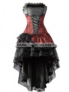 #Pentagramme Wine Red #Corset #High-Low Layer Skirt #Gothic #Party #Dress