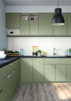 Olives, Toilet And Bathroom Design, Vert Olive, Green Kitchen, Cuisines Design, Modern Kitchen Design, Kitchen Interior, Future House, Kitchen Cabinets