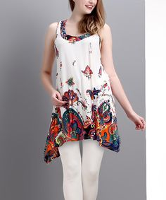 Another great find on #zulily! White Floral Paisley Racerback Sidetail Tunic by Reborn Collection #zulilyfinds