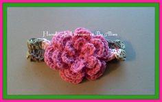 Crocheted Newborn Pink Camo Headband w/ Flower by CraftinginStyle